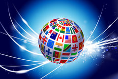 Flag Globe on Abstract Modern Light Background Stock Photography