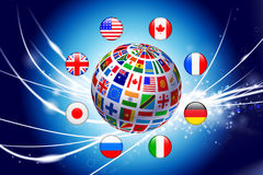 Flag Globe on Abstract Modern Light Background Royalty Free Stock Photo