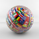 Flag Globe with different country flags. Different country flags on globe Royalty Free Stock Photos