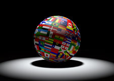 Flag Globe with different country flags Stock Photo