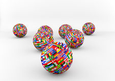 Flag Globe with different country flags. Different Country flags on one world globe Royalty Free Stock Photo