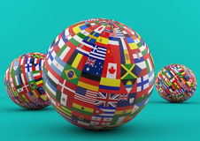 Flag Globe with different country flags. Different Country flags on one world globe Stock Photo
