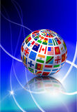 Flag Globe with Light Streak Background Royalty Free Stock Photography