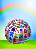 Flag Globe on Nature Background with Rainbow Royalty Free Stock Photography