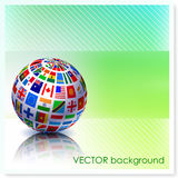 Flag Globe on Vector Background Stock Photo