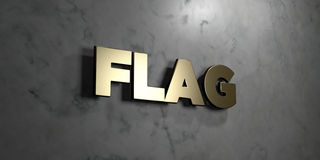 Flag - Gold sign mounted on glossy marble wall  - 3D rendered royalty free stock illustration Royalty Free Stock Photography
