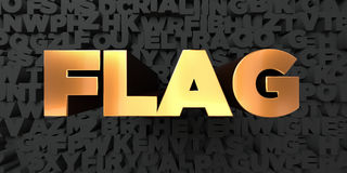 Flag - Gold text on black background - 3D rendered royalty free stock picture Stock Photos