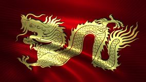 Flag of golden Chinese dragon