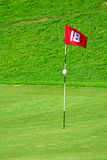 Flag on golf course. 18th flag on the golf course Stock Photography