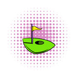 Flag on a golf course icon, comics style. Flag on a golf course icon in comics style on a white background Stock Image