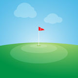 Flag on the golf course. Royalty Free Stock Photography