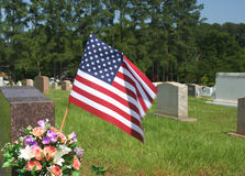 Flag on Grave Stock Photography