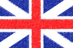 Flag of Great Britain background o texture, color pencil effect. Royalty Free Stock Image