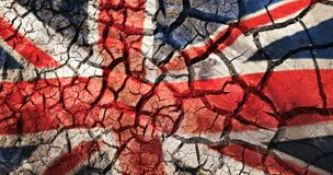 Flag of great britain on cracked ground background Royalty Free Stock Photos