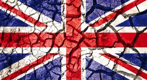 Flag of great britain on cracked ground background Stock Images
