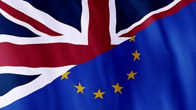 Flag Of Great Britain and Europe, Brexit. Flag Of Great Britain and Europe stock footage