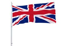 Flag of Great Britain on a flagpole fluttering in the wind on a transparent blue background, 3d rendering Stock Photos