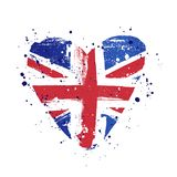 Flag of Great Britain in the form of a big heart. Vector illustration. On white background. Brush strokes drawn by hand. United Kingdom stock illustration