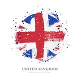 Flag of Great Britain in the form of a large circle. Vector illustration. On white background. Brush strokes drawn by hand. United Kingdom stock illustration