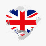 Flag of Great Britain. On grunge heart. Vector illustration Vector Illustration