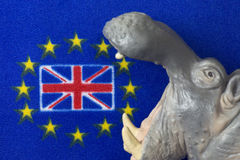 Flag of Great Britain, Mouth of hippo figurine Stock Image