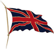Flag of Great Britain. Old flag of Great Britain painted as engraving winds in the wind Royalty Free Stock Photography