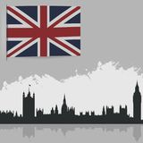 Flag of Great Britain. And the outlines of buildings Royalty Free Stock Image