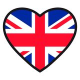 Flag of Great Britain in the shape of Heart with contrasting con. Tour, symbol of love for his country, patriotism, icon for Independence Day Stock Photo