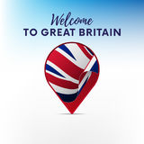 Flag of Great Britain in shape of map pointer or marker. Welcome to Great Britain. Vector. Flag of Great Britain in shape of map pointer or marker. Welcome to Stock Images