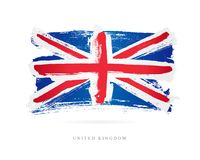 Flag of the Great Britain. United Kingdom. Flag of the Great Britain. Vector illustration on white background. Beautiful brush strokes. Abstract concept Stock Photography