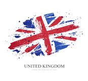 Flag of the Great Britain. Vector illustration. On white background. Brush strokes drawn by hand. United Kingdom royalty free illustration