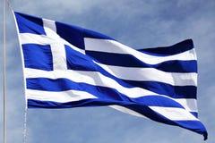 Flag of Greece. Against the sky Stock Photos