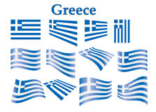 Flag of Greece. Set of flags of Greece vector illustration Stock Photos