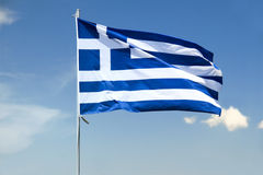 Flag of Greece. Greek flag waving in the wind with Stock Image