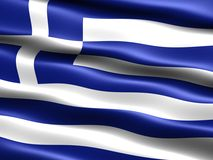 Flag of Greece. Computer generated illustration of the flag of Greece with silky appearance and waves stock illustration