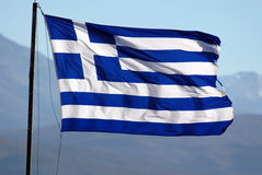 Flag of Greece. Waving on wind, good sun light royalty free stock photo