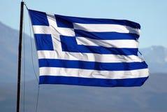 Flag of Greece. Waving on wind, good sun light Royalty Free Stock Photo