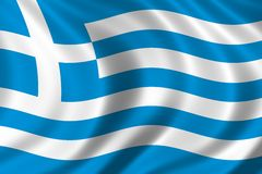Flag of Greece. Waving in the wind Stock Images