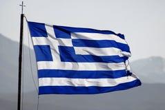 Flag of Greece. Waving on wind, good sun light Stock Photos