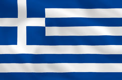 Flag of Greece. Greek satsilk waving flag (country from europe Royalty Free Stock Image