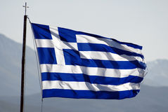 Flag of Greece. Waving on wind, more flags in portfolio Stock Photography
