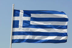 Flag of Greece. Waving flag of Greece isolated over blue sky Royalty Free Stock Photography
