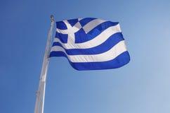 Flag of Greece on Acropolis Stock Photo