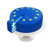 Flag of Greece as Piece of European Union Cake. Isolated on white background. 3D render Stock Images