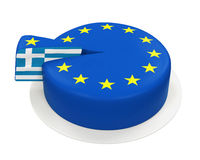Flag of Greece as Piece of European Union Cake. Isolated on white background. 3D render Royalty Free Stock Images