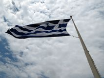 Flag of Greece and blue sky stock photo