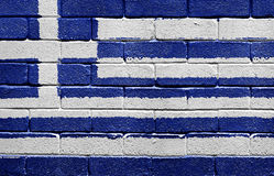 Flag of Greece on a brick wall Stock Photos