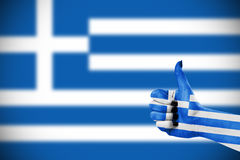 Flag of Greece on hand. Flag of Greece on female's hand Stock Photography