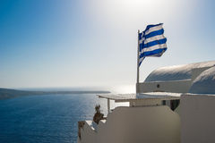 Flag of Greece in One Fine Day. Wavy Greece flag in One Fine Day stock image