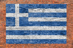 Flag of Greece painted over brick wall Stock Image